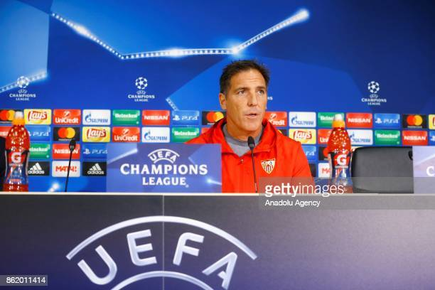 Head Coach Eduardo Berizzo of Sevilla FC and player Nolito of Sevilla FC hold a press conference ahead of the the UEFA Champions League group match...