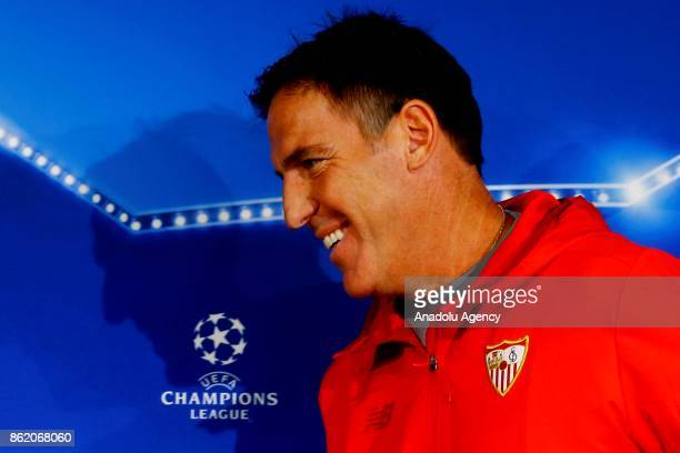 Head Coach Eduardo Berizzo of Sevilla FC gestures during a press conference held ahead of the the UEFA Champions League group match against FC...