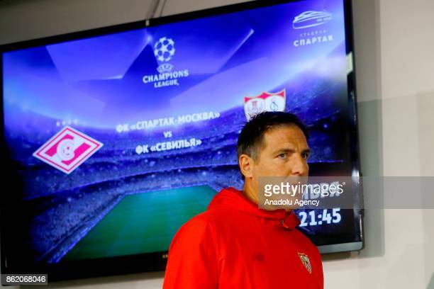 Head Coach Eduardo Berizzo of Sevilla FC looks on during a press conference held ahead of the the UEFA Champions League group match against FC...