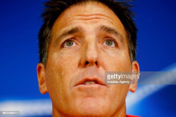 Head Coach Eduardo Berizzo of Sevilla FC speaks during a press conference held ahead of the the UEFA Champions League group match against FC Spartak...