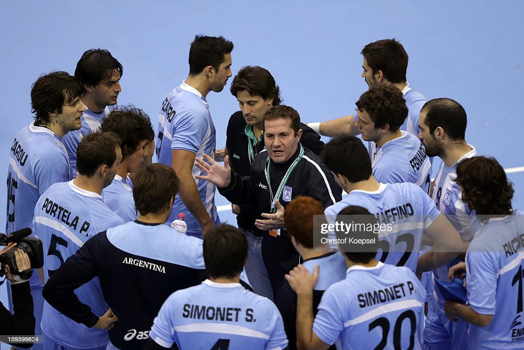 Head coach Eduardo Gallardo of Argentina talks to the team during the premilary group A match between Brasil and Argentina and Montenegro at Palacio de Deportes de Granollers on January 13, 2013 in Granollers, Spain.