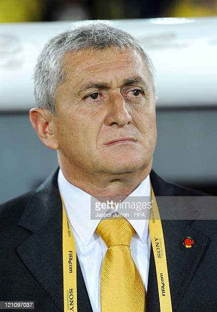 Head coach Eduardo Lara of Colombia looks on during the FIFA U20 World Cup Colombia 2011 quarter final match between Mexico and Colombia at the...