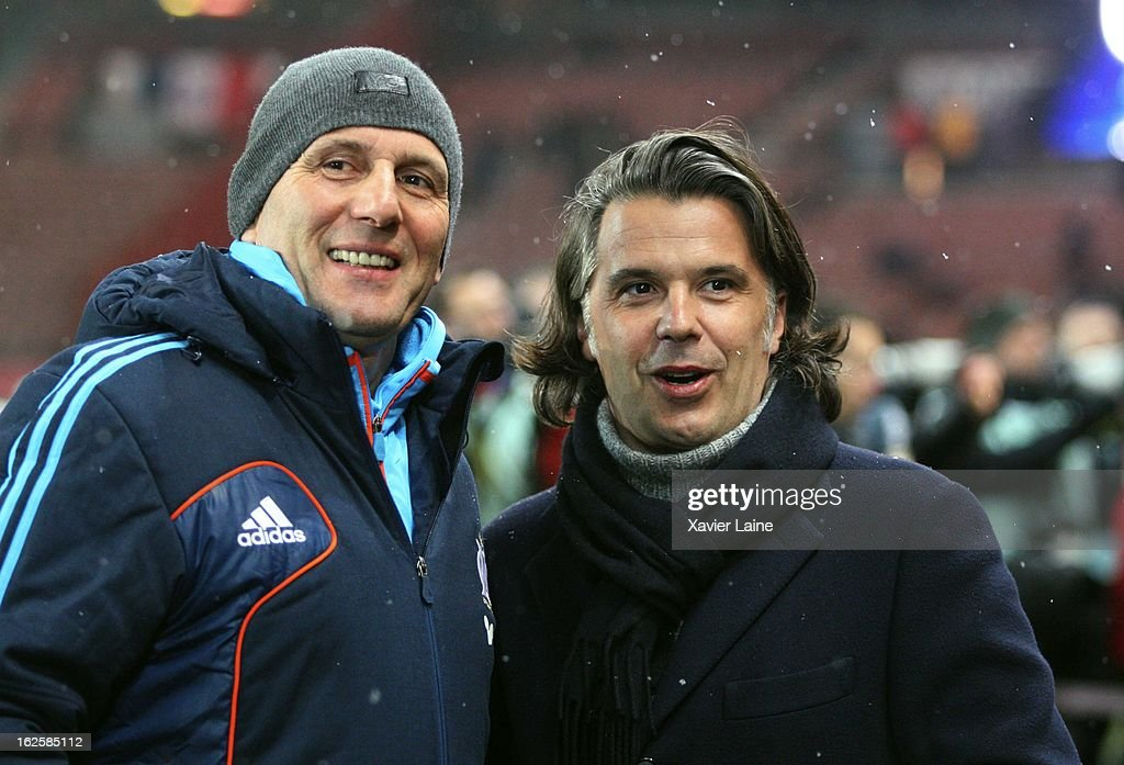 Head Coach <a gi-track='captionPersonalityLinkClicked' href=/galleries/search?phrase=Elie+Baup&family=editorial&specificpeople=536928 ng-click='$event.stopPropagation()'>Elie Baup</a> and President Vincent Labrune of Marseille Olympic before the French League 1 between Paris Saint-Germain FC and Marseille Olympic OM, at Parc des Princes on February 24, 2013 in Paris, France.