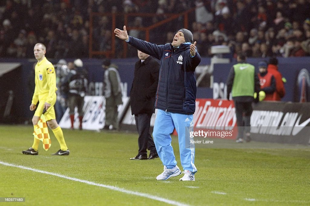 Head Coach <a gi-track='captionPersonalityLinkClicked' href=/galleries/search?phrase=Elie+Baup&family=editorial&specificpeople=536928 ng-click='$event.stopPropagation()'>Elie Baup</a> of Marseille Olympic during the French League 1 between Paris Saint-Germain FC and Marseille Olympic OM, at Parc des Princes on February 24, 2013 in Paris, France.