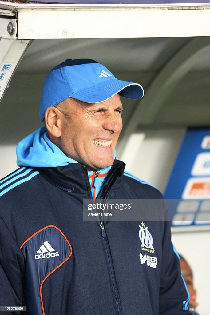 Head Coach <a gi-track='captionPersonalityLinkClicked' href=/galleries/search?phrase=Elie+Baup&family=editorial&specificpeople=536928 ng-click='$event.stopPropagation()'>Elie Baup</a> of Olypique de Marseille during the French Ligue 1 between Paris Saint-Germain and Olympique de Marseille, at Parc des Princes on October 31, 2012 in Paris, France.