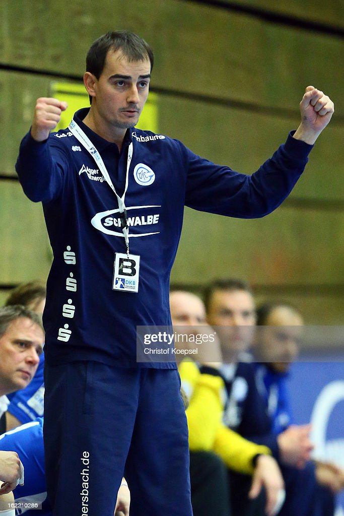 Head coach Emir Kurtagic of Gummersbach celebrates during the DKB Handball Bundesliga match between VfL Gummersbach and FrischAuf Goeppingen at Eugen-Haas-Sporthalle on February 20, 2013 in Gummersbach, Germany.
