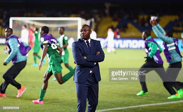 Head coach Emmanuel Amuneke of Nigeria reacts after the FIFA U17 World Cup Chile 2015 Semi Final match between Mexico and Nigeria at Estadio...
