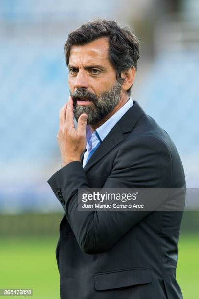 Head coach Enrique Sanchez Flores of RCD Espanyol looks on prior to the start the La Liga match between Real Sociedad de Futbol and RCD Espanyol at...