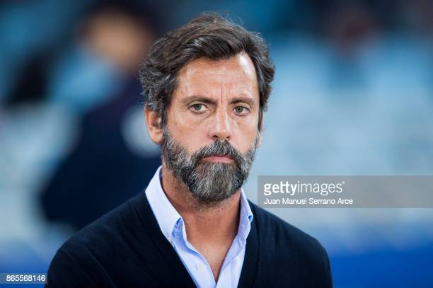 Head coach Enrique Sanchez Flores of RCD Espanyol looks on prior to the start the La Liga match between Real Sociedad de Futbol and RCD Espanyol at...