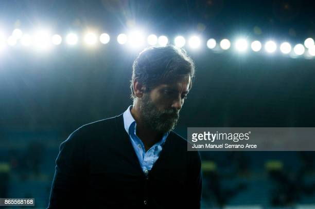 Head coach Enrique Sanchez Flores of RCD Espanyol reacts after the La Liga match between Real Sociedad de Futbol and RCD Espanyol at Estadio Anoeta...