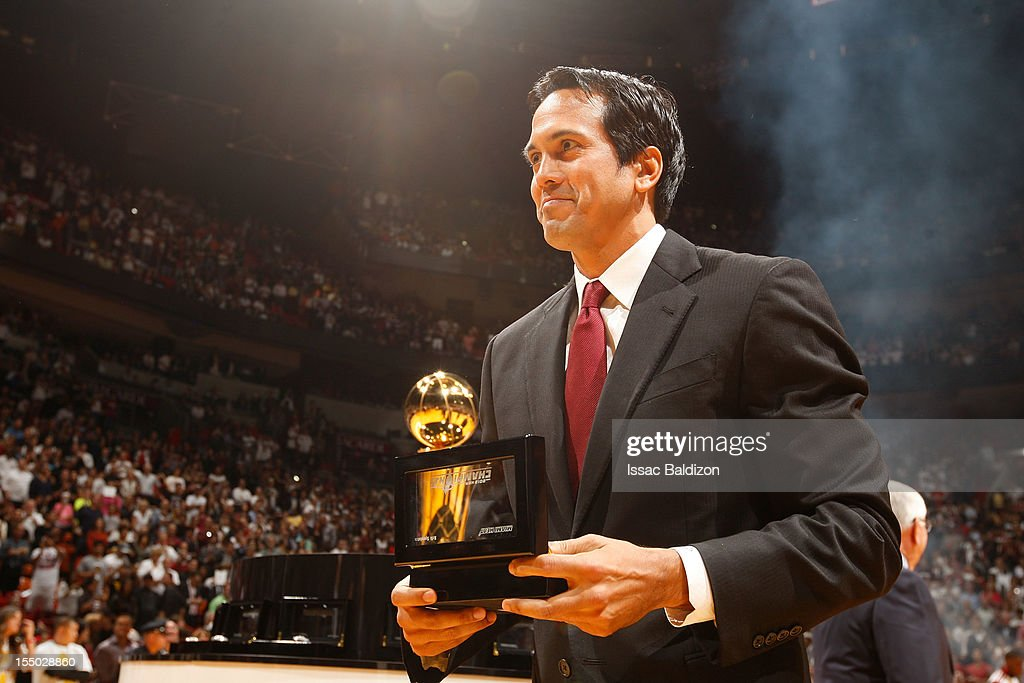 Head Coach Eric Spoelstra of the Miami Heat holds his 2012 NBA Championship ring during a ceremony prior to the NBA game against the Boston Celtics on October 30, 2012 at American Airlines Arena in Miami, Florida.