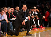 Head coach Eric Spoelstra of the Miami Heat looks on in the game against the Los Angeles Lakers at Staples Center on January 13 2015 in Los Angeles...