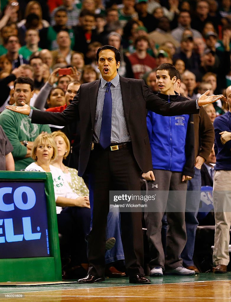 Head coach Eric Spoelstra of the Miami Heat questions the referees following a double technical foul against the Boston Celtics during the game on January 27, 2013 at TD Garden in Boston, Massachusetts.