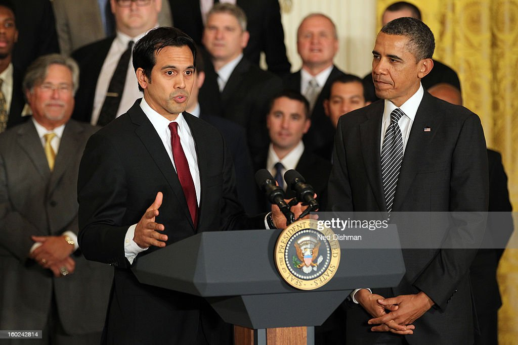 Head coach Eric Spoelstra of the Miami Heat speaks to President <a gi-track='captionPersonalityLinkClicked' href=/galleries/search?phrase=Barack+Obama&family=editorial&specificpeople=203260 ng-click='$event.stopPropagation()'>Barack Obama</a> during a visit by the Miami Heat to the White House to commemorate the 2012 NBA Champions on January 28, 2013 in Washington, DC.