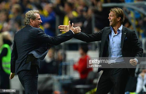 Head coach Erik Hamren of Sweden celebrates after the first goal during the FIFA 2014 World Cup Qualifying Group C match between Sweden and Germany...