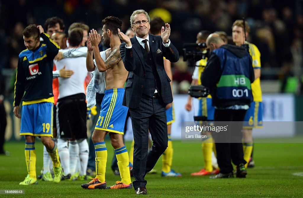 Head coach Erik Hamren of Sweden reacts after loosing the FIFA 2014 World Cup Qualifying Group C match between Sweden and Germany at Friends Arena Solna on October 15, 2013 in Stockholm, Sweden.