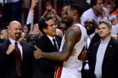 Head coach Erik Spoelstra and LeBron James of the Miami Heat celebrate against the Oklahoma City Thunder in Game Five of the 2012 NBA Finals on June...