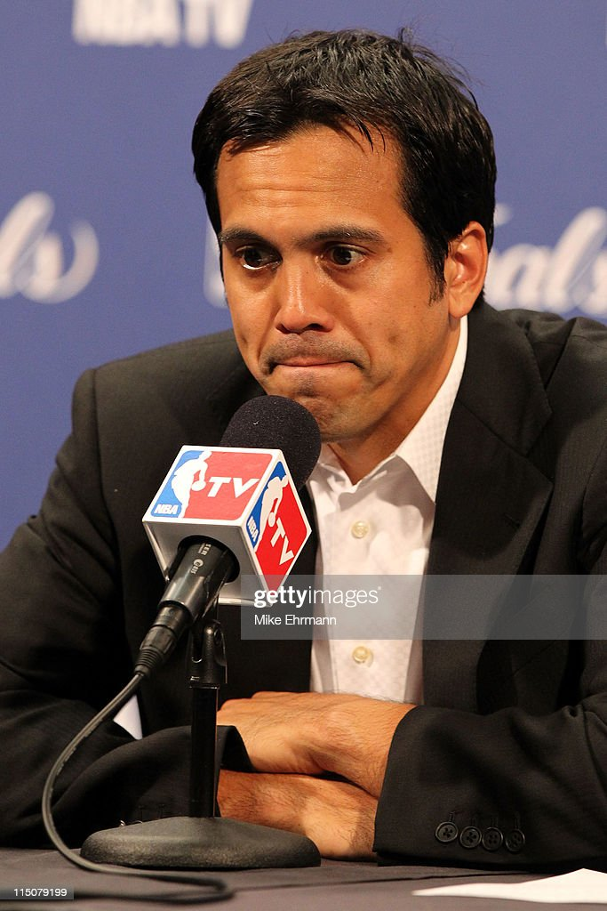 Head coach <a gi-track='captionPersonalityLinkClicked' href=/galleries/search?phrase=Erik+Spoelstra&family=editorial&specificpeople=573142 ng-click='$event.stopPropagation()'>Erik Spoelstra</a> of the Miami Heat addresses the media after the Dallas Mavericks defeat the Heat 95-93 in Game Two of the 2011 NBA Finals at American Airlines Arena on June 2, 2011 in Miami, Florida.