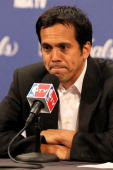 Head coach Erik Spoelstra of the Miami Heat addresses the media after the Dallas Mavericks defeat the Heat 9593 in Game Two of the 2011 NBA Finals at...