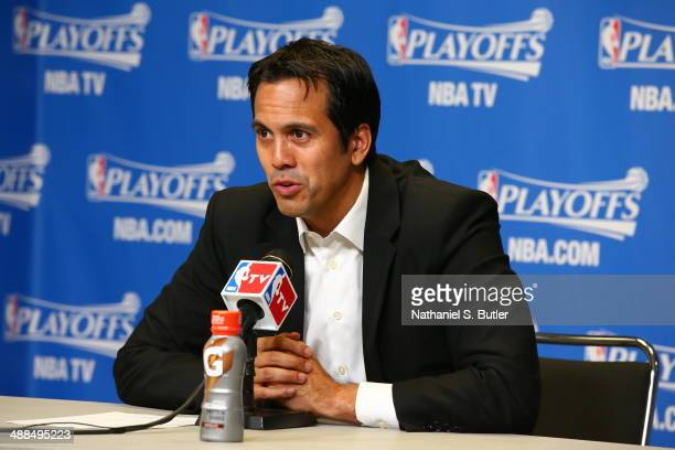 Head Coach Erik Spoelstra of the Miami Heat addresses the media after the game against the Brooklyn Nets After Game One of the Eastern Conference...