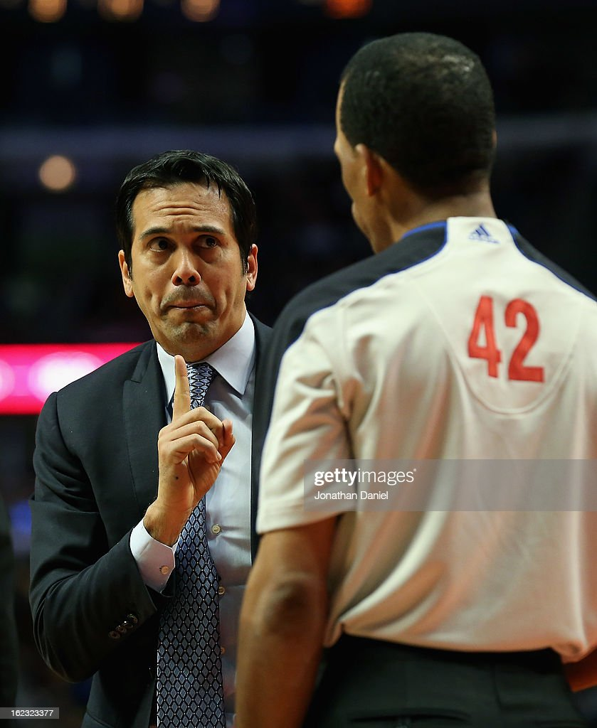 Head coach Erik Spoelstra of the Miami Heat argues with referee Eric Lewis during a game against the Chicago Bulls at the United Center on February 21, 2013 in Chicago, Illinois. The Heat defeated the Bulls 86-67.