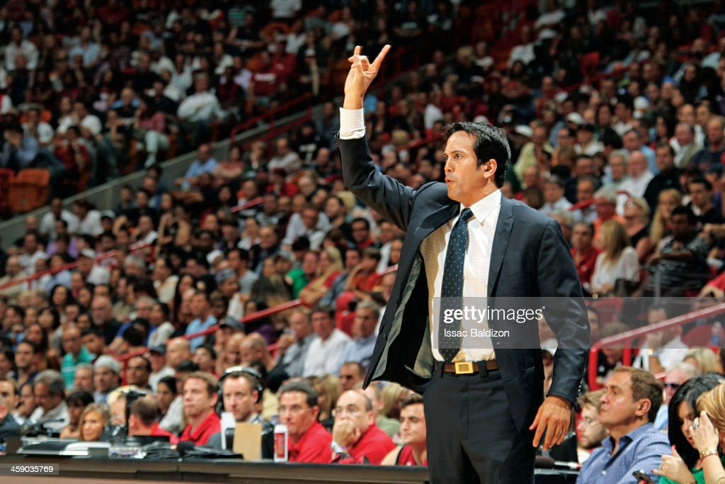 Head Coach Erik Spoelstra of the Miami Heat directs his team against the Portland Trail Blazers on February 12, 2013 at American Airlines Arena in Miami, Florida.