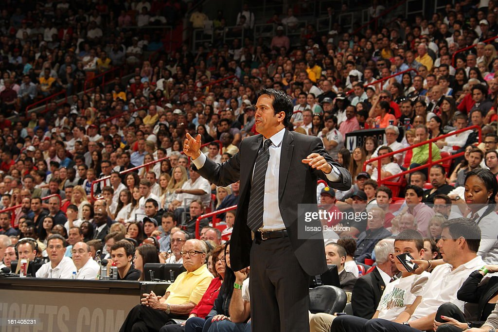 Head Coach Erik Spoelstra of the Miami Heat during a game between the Los Angeles Lakers and the Miami Heat on February 10, 2013 at American Airlines Arena in Miami, Florida.