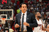 Head coach Erik Spoelstra of the Miami Heat during the game against the Chicago Bulls on April 9 2015 at AmericanAirlines Arena in Miami Florida NOTE...