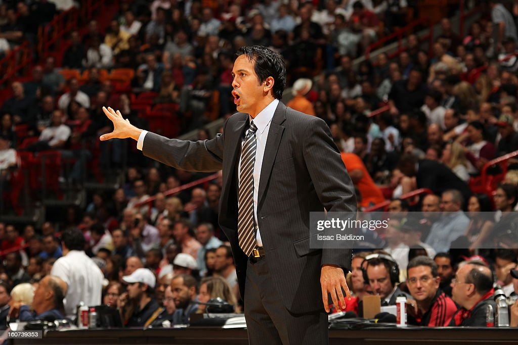 Head Coach Erik Spoelstra of the Miami Heat gives direction against the Charlotte Bobcats during a game on February 4, 2013 at American Airlines Arena in Miami, Florida.
