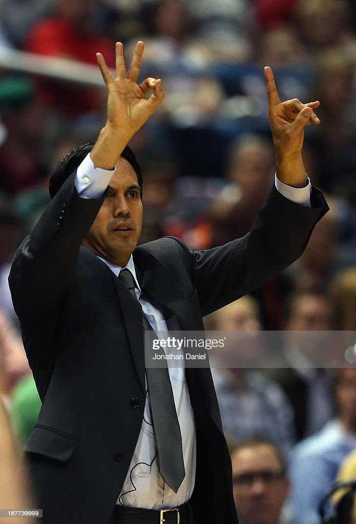 Head coach Erik Spoelstra of the Miami Heat gives instructions to his team against the Milwaukee Bucks in Game Four of the Eastern Conference Quarterfinals during the 2013 NBA Playoffs at the Bradley Center on April 28, 2013 in Milwaukee, Wisconsin.