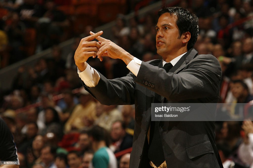 Head coach Erik Spoelstra of the Miami Heat leads his team against the Chicago Bulls on March 12, 2010 at American Airlines Arena in Miami, Florida.