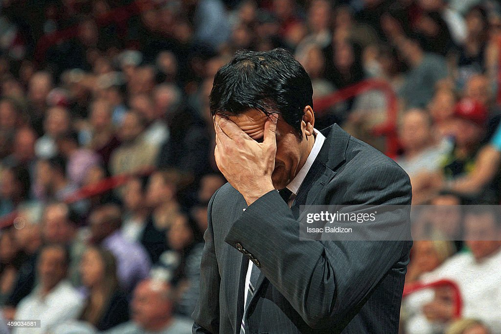 Head Coach Erik Spoelstra of the Miami Heat looks dejected against the Detroit Pistons on January 25 2013 at American Airlines Arena in Miami Florida...