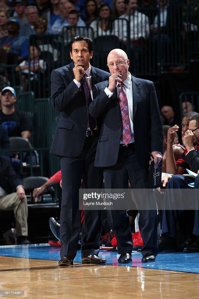Head Coach <a gi-track='captionPersonalityLinkClicked' href=/galleries/search?phrase=Erik+Spoelstra&family=editorial&specificpeople=573142 ng-click='$event.stopPropagation()'>Erik Spoelstra</a> of the Miami Heat looks like he is thinking hard on the sidelines with fellow coaches against the Oklahoma City Thunder during an NBA game on February 14, 2013 at the Chesapeake Energy Arena in Oklahoma City, Oklahoma.
