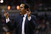 Head coach Erik Spoelstra of the Miami Heat looks on against the Washington Wizards during the first half at Verizon Center on January 3 2016 in...
