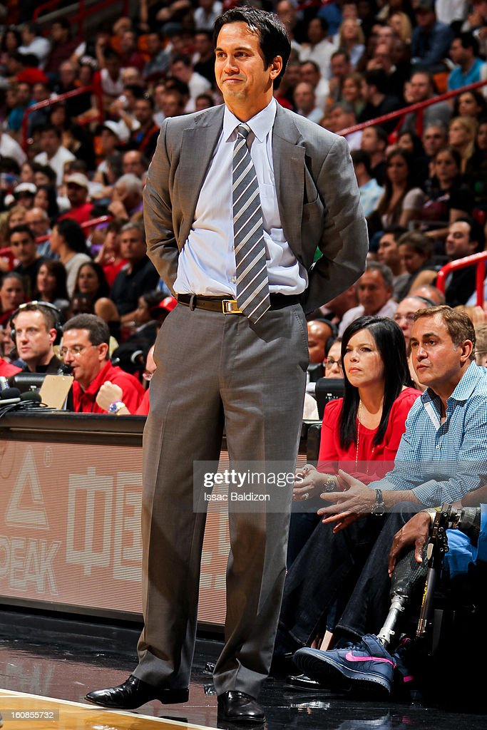 Head Coach Erik Spoelstra of the Miami Heat looks on as his team plays the Houston Rockets on February 6, 2013 at American Airlines Arena in Miami, Florida.