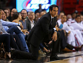 Head coach Erik Spoelstra of the Miami Heat looks on during a game against the Los Angeles Clippers at American Airlines Arena on November 20 2014 in...