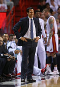 Head coach Erik Spoelstra of the Miami Heat looks on during a game against the Memphis Grizzlies at American Airlines Arena on December 27 2014 in...