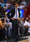 Head coach Erik Spoelstra of the Miami Heat looks on during a game against the Brooklyn Nets at American Airlines Arena on January 4 2015 in Miami...