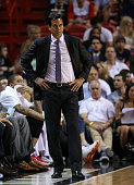 Head coach Erik Spoelstra of the Miami Heat looks on during a game against the Cleveland Cavaliers at American Airlines Arena on March 16 2015 in...