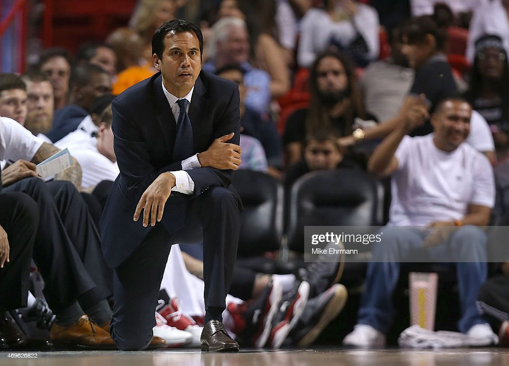 Head coach Erik Spoelstra of the Miami Heat looks on during a game against the Orlando Magic at American Airlines Arena on April 13 2015 in Miami...