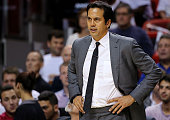 Head coach Erik Spoelstra of the Miami Heat looks on during a game against the Oklahoma City Thunder at American Airlines Arena on December 3 2015 in...