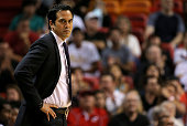 Head coach Erik Spoelstra of the Miami Heat looks on during a game against the Toronto Raptors at American Airlines Arena on December 18 2015 in...