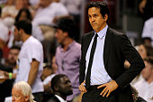 Head coach Erik Spoelstra of the Miami Heat looks on during Game 4 of the Eastern Conference Semifinals of the 2016 NBA Playoffs against the Toronto...