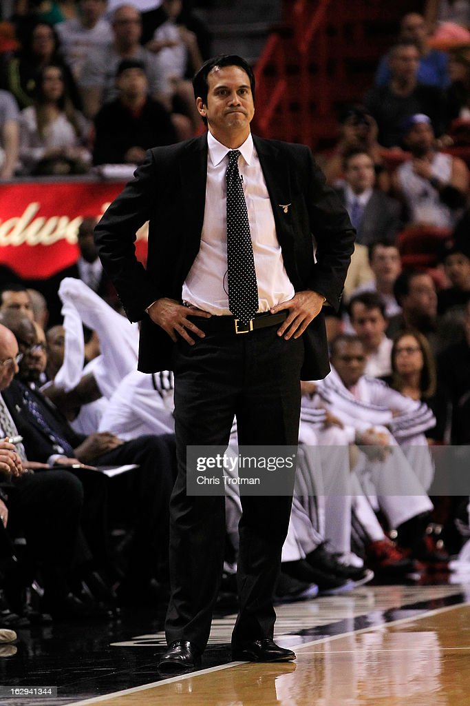 Head coach Erik Spoelstra of the Miami Heat looks on during the game against the Memphis Grizzlies at American Airlines Arena on March 1, 2013 in Miami, Florida.