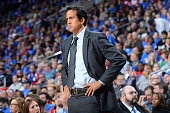 Head coach Erik Spoelstra of the Miami Heat looks on during the game against the Philadelphia 76ers on November 1 2014 at the Wells Fargo Center in...