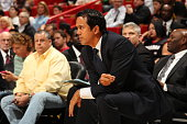 Head Coach Erik Spoelstra of the Miami Heat looks on during the game against the Orlando Magic on April 13 2015 at American Airlines Arena in Miami...