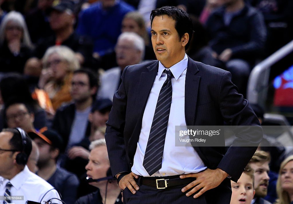Head Coach Erik Spoelstra of the Miami Heat looks on during the second half of an NBA game at the Air Canada Centre on March 12 2016 in Toronto...