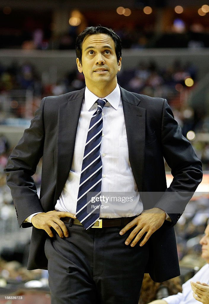 Head coach <a gi-track='captionPersonalityLinkClicked' href=/galleries/search?phrase=Erik+Spoelstra&family=editorial&specificpeople=573142 ng-click='$event.stopPropagation()'>Erik Spoelstra</a> of the Miami Heat looks on from the bench during the second half of the Heat's 105-101 loss to the Washington Wizards at Verizon Center on December 4, 2012 in Washington, DC.