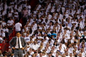 Head coach Erik Spoelstra of the Miami Heat looks on in the fourth quarter against the Boston Celtics in Game Five of the Eastern Conference Finals...