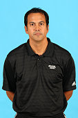 Head Coach Erik Spoelstra of the Miami Heat poses for a portrait during the 2015 Media Day on September 28 2015 at the American Airlines Arena in...